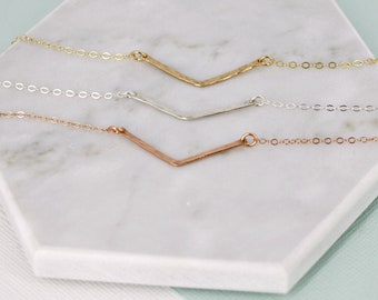 Chevron necklace - Gold hammered chevron layering necklace -Sterling Silver, Gold-filled, Rose Gold filled - V chevron bar necklace