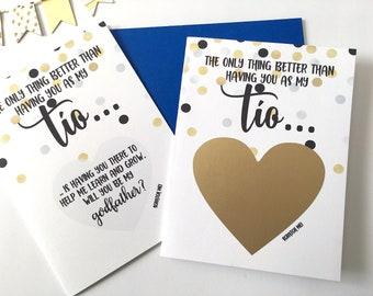 Pate Vorschlag Scratch Off Karte - das einzige, was besser, als wenn Sie als meine Tio Karte - Taufe Taufe Paten spanischen gesegnet.