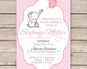 Pink Elephant Baby Shower Invites, Baby Girl Shower Invitations, Baby Sprinkle, Pink Elephant Baby Shower