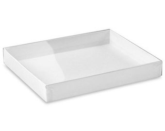 """SAVE OVER 50%! ULINE Clear Lid Retail Boxes - 5 3⁄4 x 4 1⁄2 x 3⁄4"""", , White - Stationery or Jewelry packaging"""