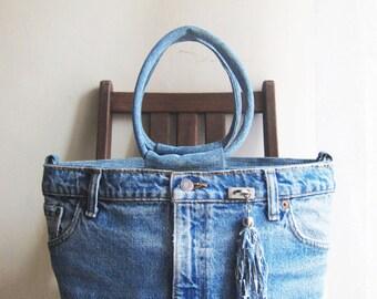 SALE Vintage handmade upcycled blue denim jeans tote shoulder bag handbag