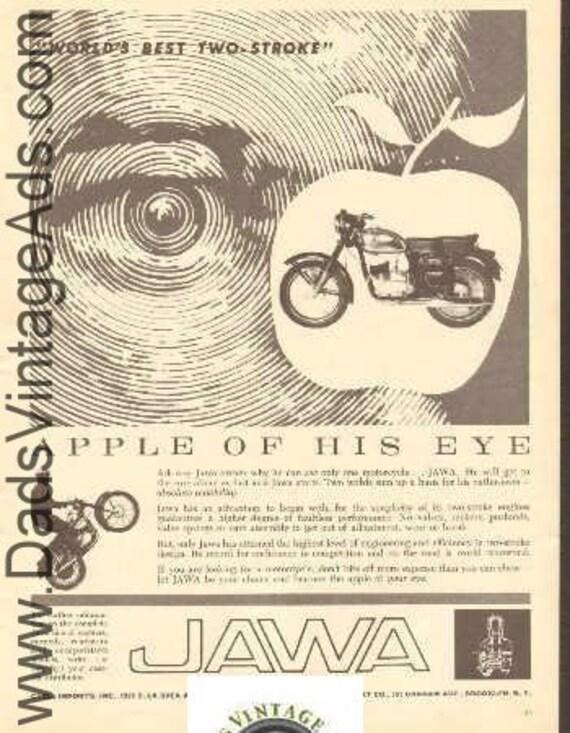 1962 Jawa ''Apple of His Eye'' World's Best Two-Stroke Ad #e62da11