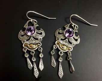 Sterling silver earrings with amethyst, and marcasites, weight 7.8 grams