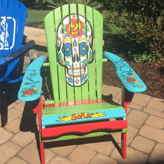 Merveilleux Adirondack Chair Hand Painted Custom Sugar Skull. Unique