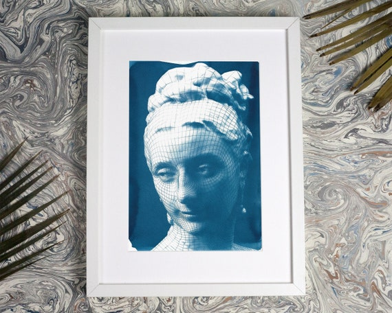 3d-Render of Victorian Female Portrait, Cyanotype Print on Watercolor Paper, Digital Art, Steam punk, 3d Render, CGI, Female Bust, A4 size