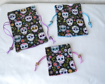 day of the dead drawstring bags, travel bag, drawstring bag, travel bag trio, jewely bag, day of the dead bag