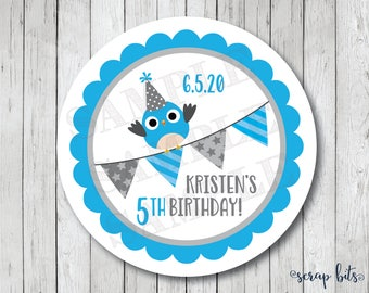 Party Owl with Bunting Stickers, Personalized Birthday Tags, Owl Birthday Labels, Owl Tags