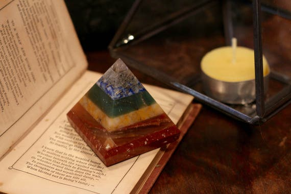 7 Chakra Color Crystal Pyramid, Stone Chakra Pyramid, Metaphysical Pyramid, Stone Pyramid, Crystal Chakra Pyramid, Crystal Pyramid