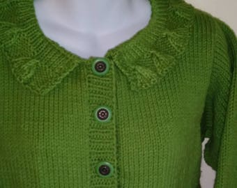 Lace Style bottom, sleeve and collar button sweater, size 10/12