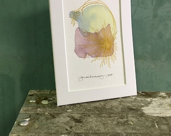 back around / original watercolor / one of a kind painting