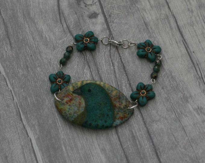 Blue Bird Bracelet, Bird Bracelet, Bird Bar Bracelet