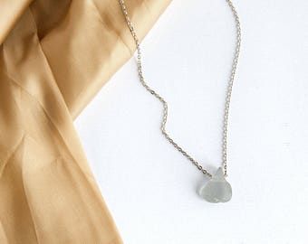 Delicate Necklace with Sea Glass   Gray Sea Glass   Modern Necklace   Simple Silver Necklace   Sea Glass Jewelry   Boho Chic Necklace