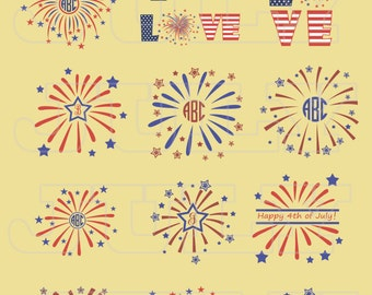 Fireworks svg, 4th of July monogram frames, Independence Day SVG, 4th of July SVG cut files, dxf, ai, eps, png, Patriotic svg files
