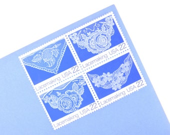 25 Lacemaking Stamps - 22c  - Vintage unused postage from 1987 - Quantity of 25