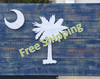 Rustic South Carolina Flag Constructed From Reclaimed/Repurposed Wood (Free Shipping)