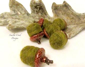 Acorns, Felted Acorns, Needle Felted Acorns, Fall Decor, Natural Acorn Caps, Moss Green, Set of Six