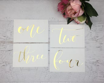 Gold Table Numbers - Table Markers - Wedding Table Decor - Gold Table Decor - White Table Markers - Gold Foil Table Markers - Gold Wedding
