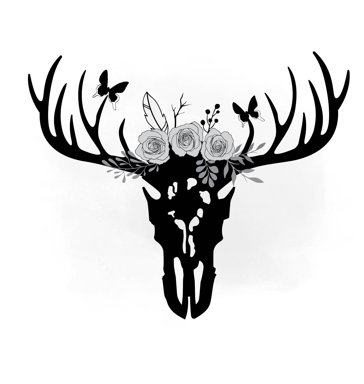 Floral Antlers Deer Skull Svg Clipart Boho Floral Antlers