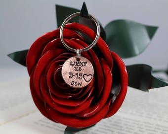 Lucky Us Penny Keychain, Personalized Keychain, Handstamped Keychain, Boyfriend Gift, Girlfriend Gift, Wedding Gift, Anniversary Gift, His