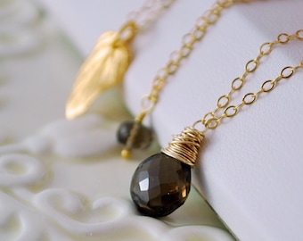 Smoky Quartz Necklace, Layered Set, Cable Chain, Chocolate Brown, AAA Genuine Gemstone, Gold Vermeil Jewelry, Free Shipping
