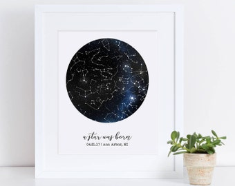 Custom Framed Constellation Map, Mother's Day 2018, First Anniversary Gift, Star Print, Engagement Gift, New Baby Gift, Celestial Wall Art