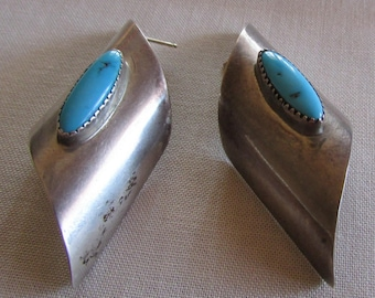 Navajo Sterling Silver and Turquoise Post Earrngs Signed L Spencer