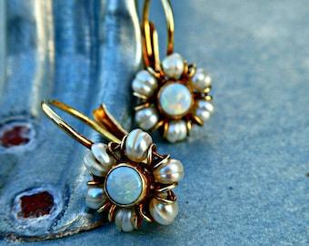 Antique Art Deco 9ct 9k Gold Opal & Pearl Leverbeck Cluster Stud Drop Earrings, Bridal Earrings, Something Old Wedding Earrings