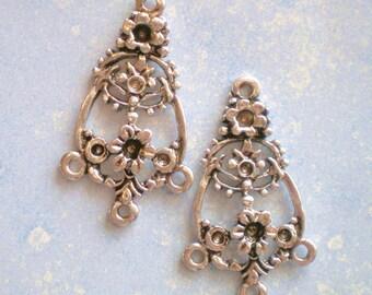 8 silver earring chandelier drops 21mm 37mm findings 825