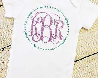 Monogram Glitter Bodysuit, Choose Colors, Baby Girl, Baby Shower, Coming Home Outfit, Personalized, Custom