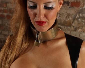 Terginum BDSM dungeon wide steel collar CLAMP metal collar steel collar made to measure