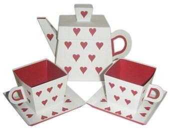 Heart Teapot and Small Teacups with Saucers Set Printable Color Templates Digital PDF (custom colors available)