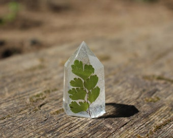 Maidenhair Fern Resin Crystal Tower // 1 5/8 inches Tall // Resin Crystal Point
