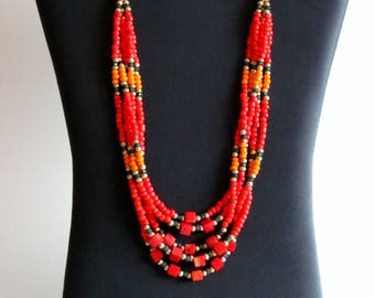Native American necklace, Coral Necklace, Native American Jewelry, Beaded Necklace, Statement necklace, Multistrand Necklace