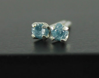 Blue Diamond Ear Studs - 3mm Tiny Stud Earrings, 4-Prongs - Rough Diamonds on Silver Posts - Rare Blue Raw Diamonds, Unfinished