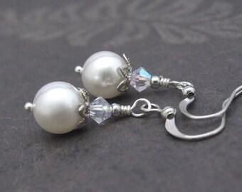 White Pearl Earrings, Swarovski Earrings, Clip On Pearl Earrings, White Wedding Jewelry, Office Wear, Mother of the Bride, Bridesmaid Bridal
