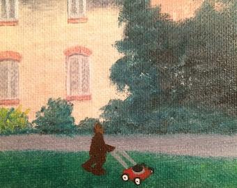 Community Service - Alf added to thrift store painting - original altered/piggyback art
