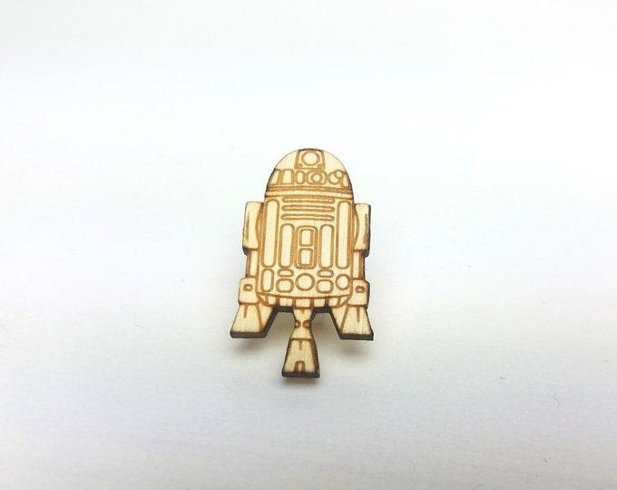 R2D2 Pin | Laser Cut Jewelry | Wood Accessories | Wood Pin | Handmade Pin |