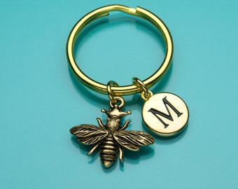 Queen Bee Keychain, Gold Queen Bee Key Ring, Bumble Bee Charm, Initial Keychain, Personalized Keychain, Custom Keychain, Charm Keychain, 478