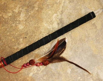 Mostly Primitive Hand Made Wand~Leather Wrapped~Skulls and Feathers~Magick