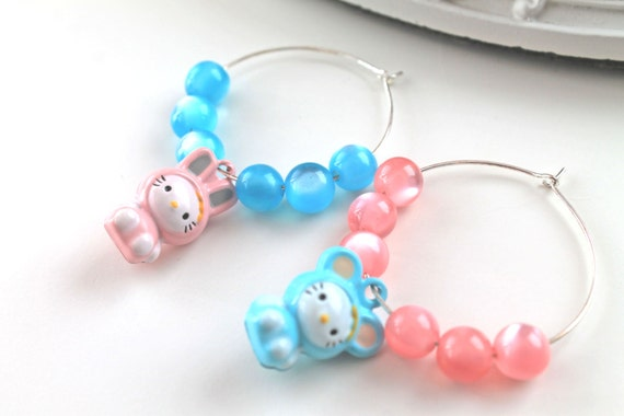 Bear and bunny mismatched hoops earrings kawaii