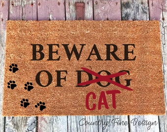 Beware of Cat Doormat, Gift for Cat Lover, Cat Door Mat, Cat Welcome Mat, Cat Rug, Funny Doormat, Cat Gift, Gift For Her, Housewarming Gift