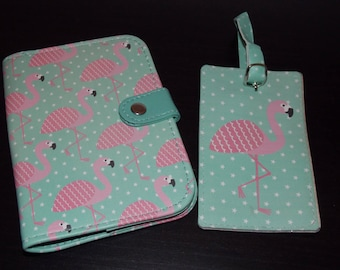 Flamingo Pink luggage tag set 01 passport and 01