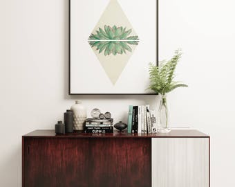 Succulent Print, Geometric Wall Art, Modern and Minimalist Art  - Echeveria II