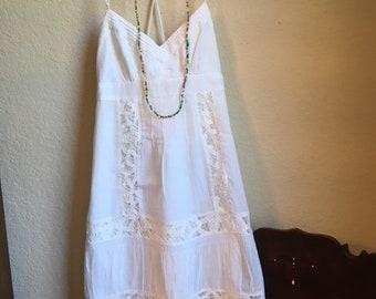 White Cotton Sun Dress With Lace Trim
