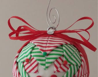 Red & Green folded fabric handmade ornament with red mitten decorations