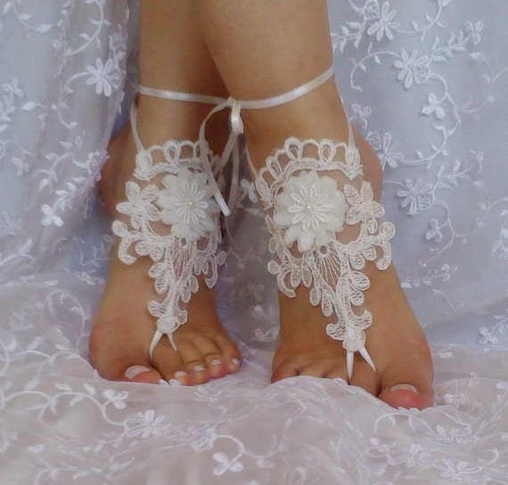 ivory 3D flower  wedding barefoot sandals wedding prom party  bangle beach anklets bangles bridal bride bridesmaid