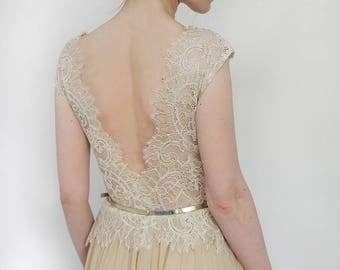 Champagne gold lace open back evening gown