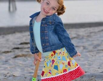 Yellow Flying Kites  Skirt   ( 2T, 3T, 4T, 5, 6, 7, 8, 10)
