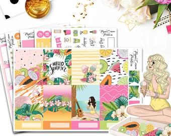 HELLO SUMMER Planner Stickers/Weekly Planner Sticker Kit for Erin Condren Planner/Travelers Notebook/Beach Planner Stickers/Summer Stickers