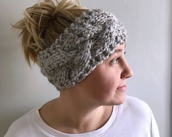 Chunky knit ear warmer / Cable knit Headband / color Grey Marble / Custom color choices available